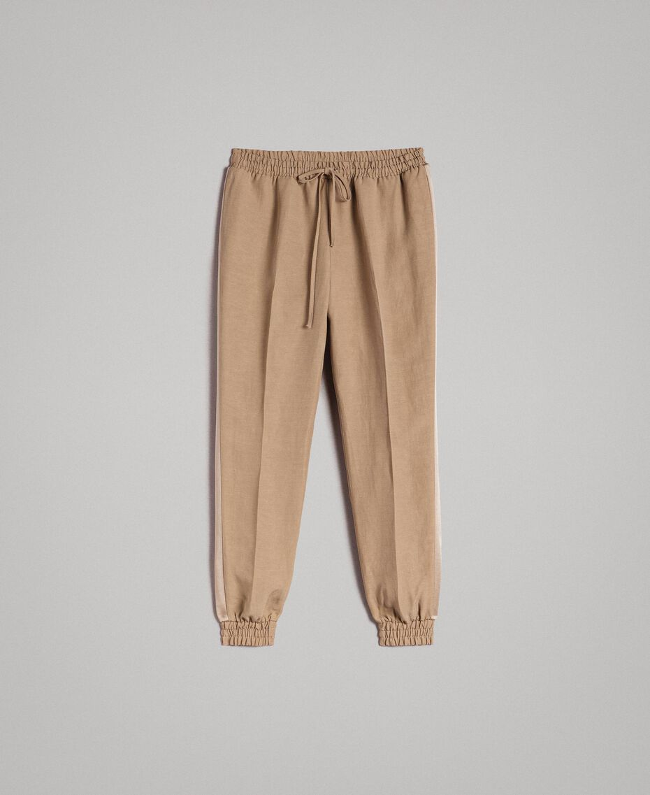 "Linen jogging trousers ""Cold Desert"" Brown Woman 191TT230B-0S"