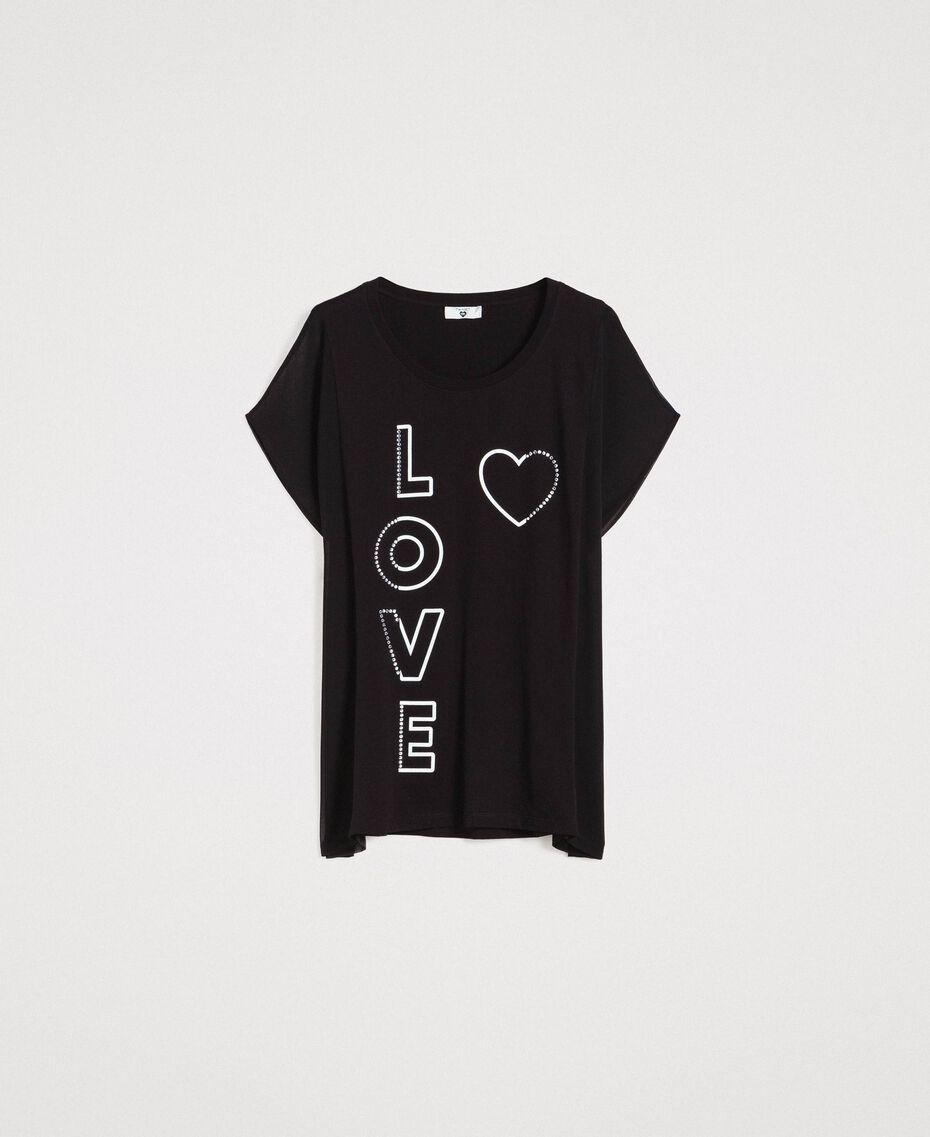 Maxi T-Shirt mit Print und Strass Schwarz Frau 191LB23KK-0S
