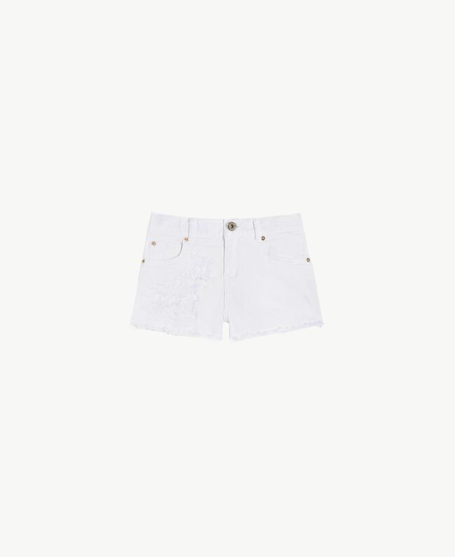 """Frayed shorts """"Papers"""" White Child GS82CB-01"""