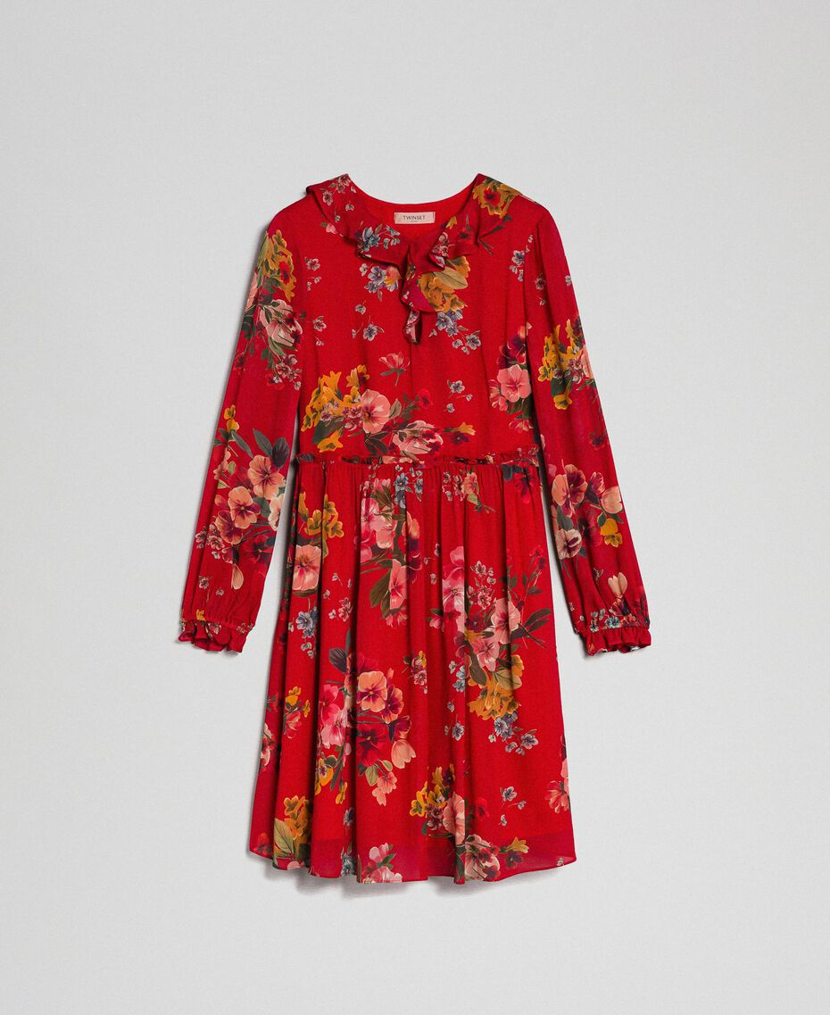 Floral print georgette dress Pomegranate Meadow Print Woman 192TP2752-0S