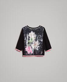 Pailletten-Pullover mit kontrastierenden Verzierungen Multicolour Black / Motiv Schwarze Blumen Frau 191MT3110-0S