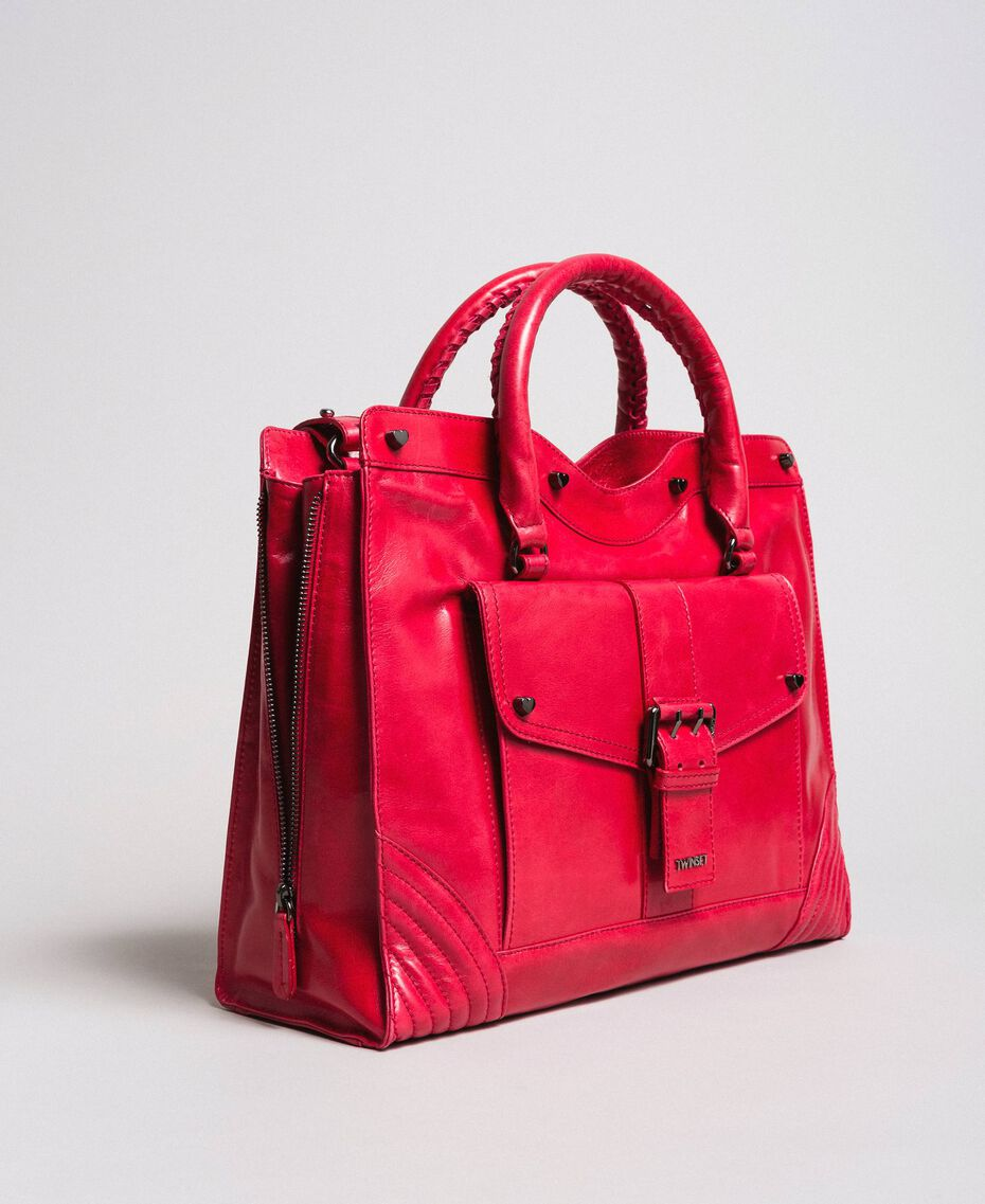 "Shopper ""Rebel"" aus Leder ""Ruby"" Rot Frau 191TA7235-01"