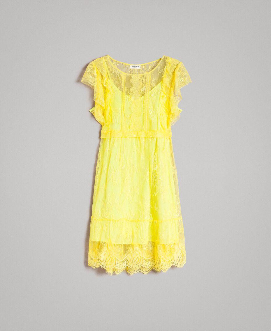 Chantilly-Kleid mit Spitze und Gürtel Schwarz Frau 191ST2121-0S