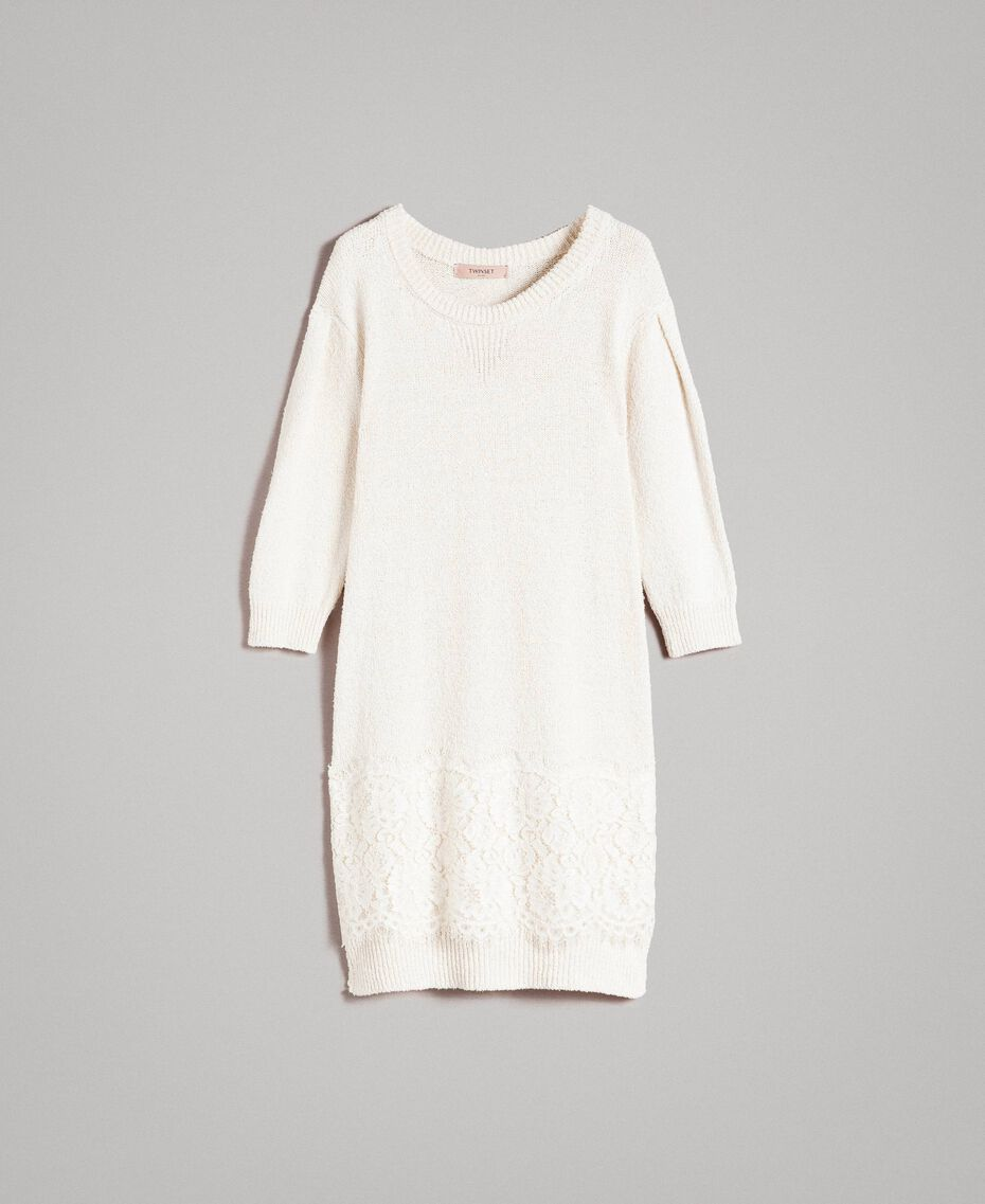 Knit dress with lace White Snow Woman 191TP3200-0S