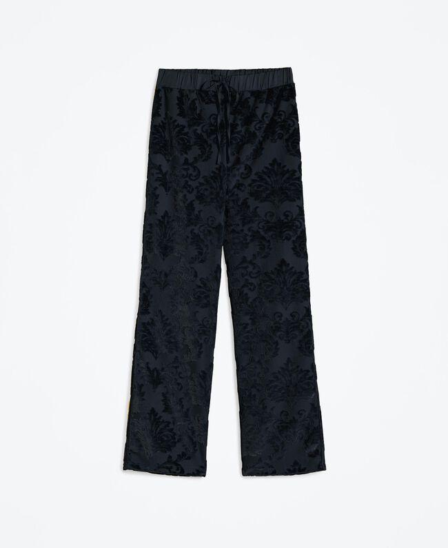 Pantalon en velours jacquard dévoré Noir Femme LA8JEE-01