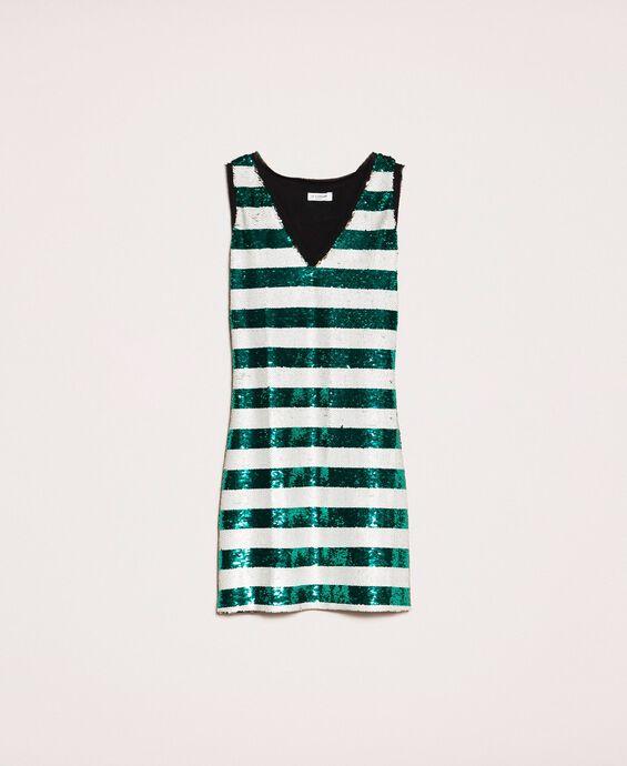 Платье в двухцветную полоску, полностью отделанное пайетками