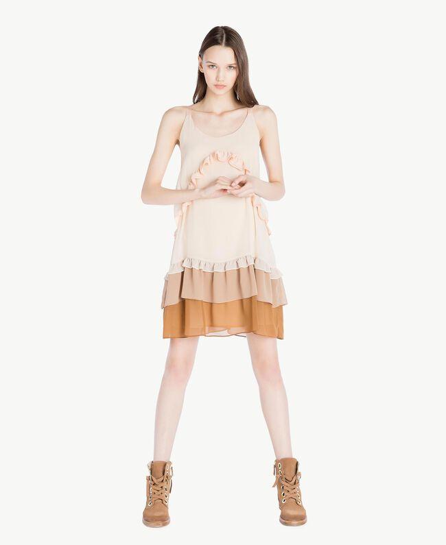 Kleid mit Volants Multicolor Seilbeige Frau SS82DC-01