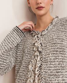 Twisted yarn jacket with lurex Multicolour Ivory / Black Woman 201TP3160-05