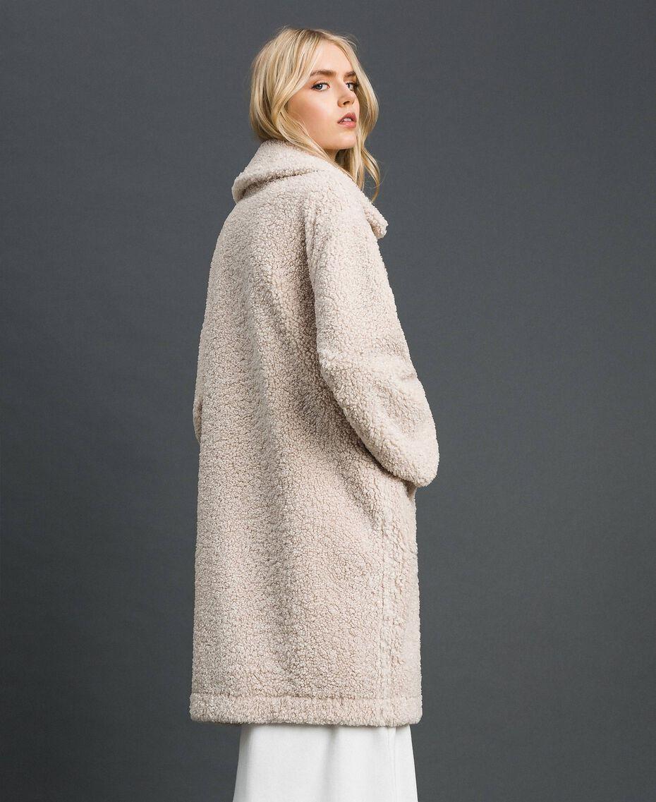 Manteau réversible en faux mouton Blanc «Vanille» / Crème Caramel Femme 192MT2020-06