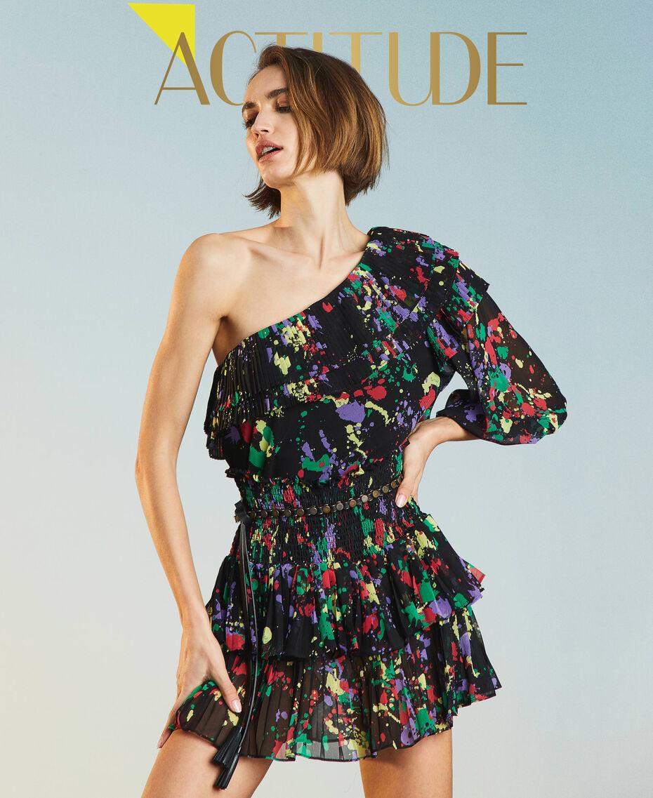 """Rigel"" printed georgette one-shoulder top Black ""Spots"" Multicolour Woman 211MT2653-01"