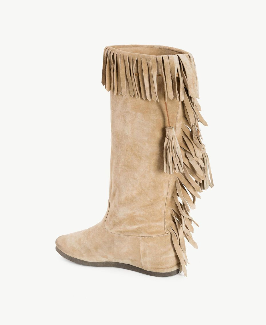 "TWINSET Fringed boots ""Dune"" Beige Woman CS8TAU-03"