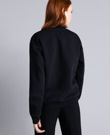 Cotton sweatshirt with glitter print Black Woman QA8TMA-03