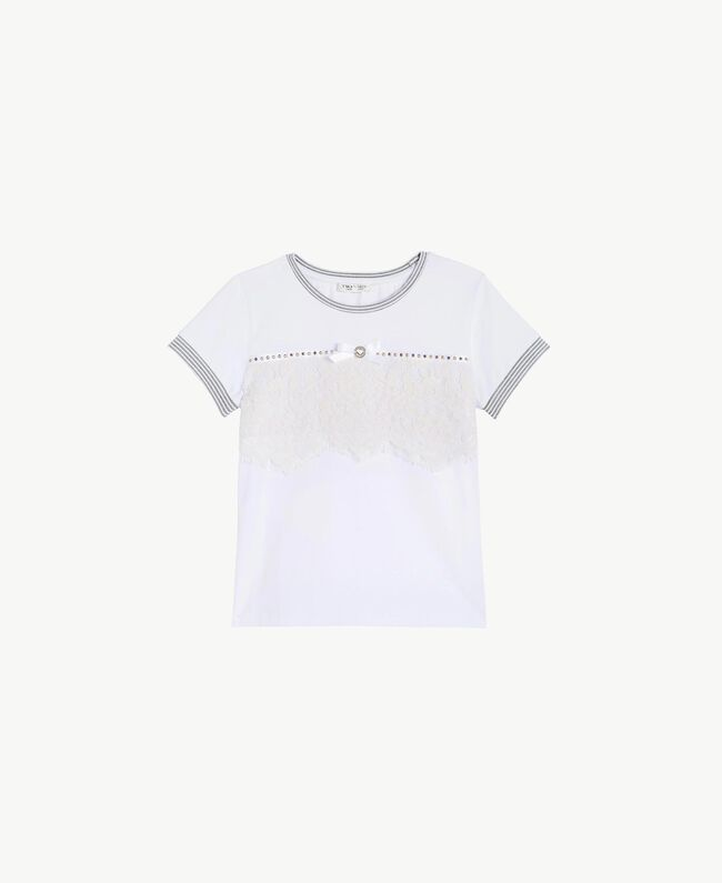 """Lace T-shirt Two-tone """"Papyrus"""" White / Chantilly Child GS82UP-01"""