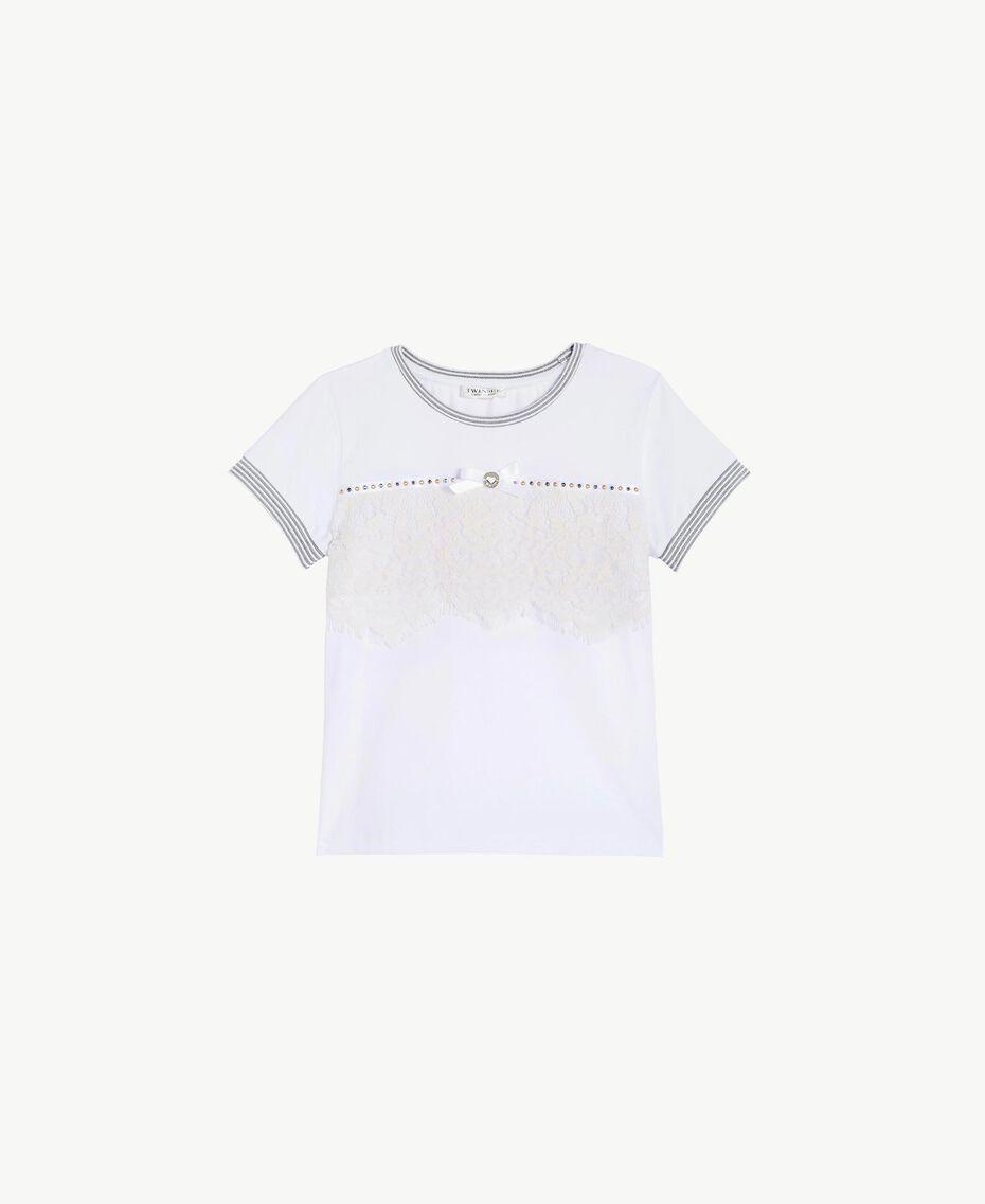 T-shirt dentelle Bicolore Blanc Papyrus / Chantilly Enfant GS82UP-01