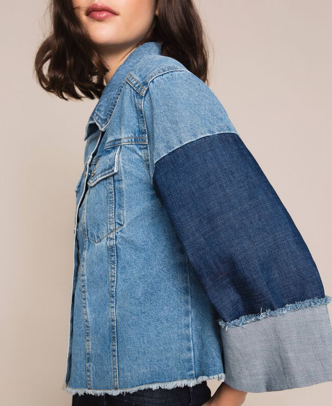 Giacca boxy in jeans color block Denim Blue Donna 201MP2290-04