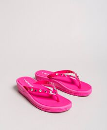"Flip flops with wedge and rhinestones ""Psychedelic Pink"" Fuchsia Woman 191LB4ZNN-03"