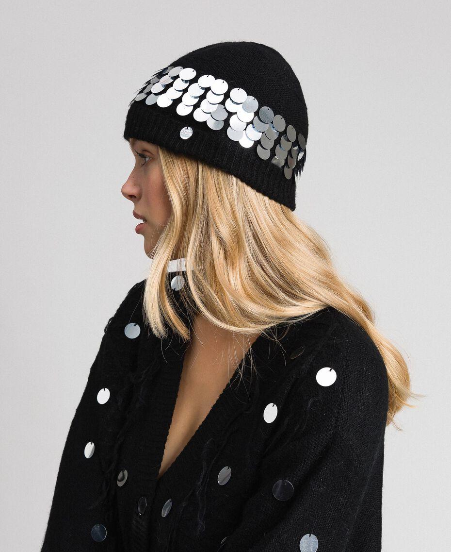 Berretto in maglia con paillettes e logo Nero Donna 192ST4789-0S