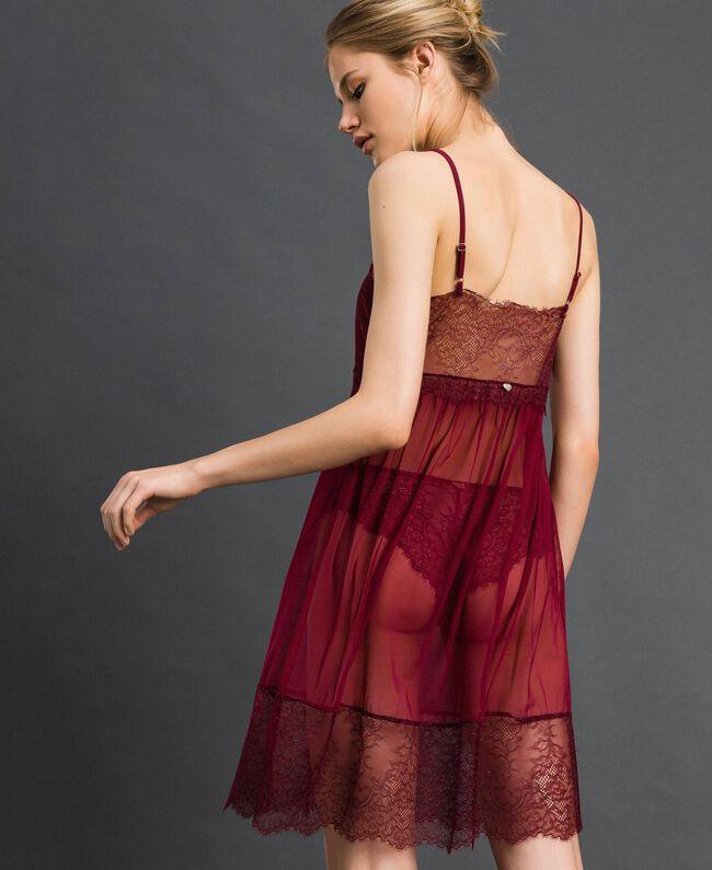Robe nuisette en tulle et dentelle Rouge Violet / Gris Plomb Femme 192LI24YY-04