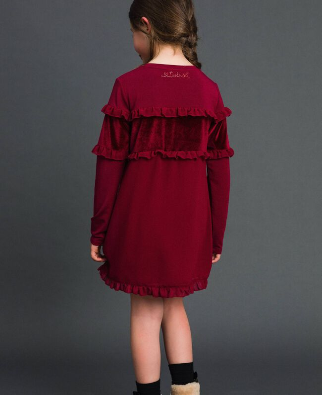 Dress with velvet inlay and frill Ruby Wine Red Child 192GJ2463-03