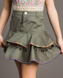 Gonna in cotone con medagliette Verde Tundra Bambina 191GJ2071-04