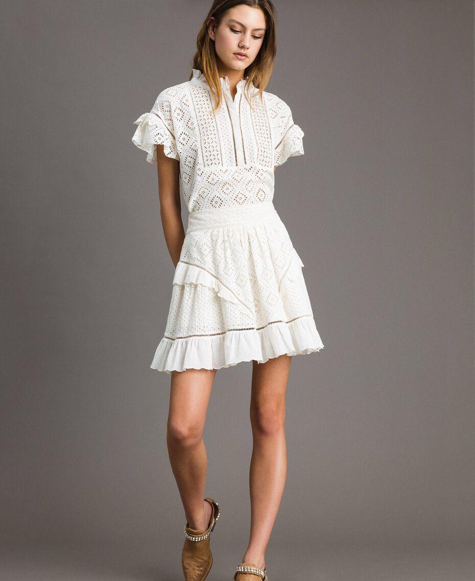 Minijupe évasée avec broderie anglaise Blanc Neige Femme 191TT2046-02