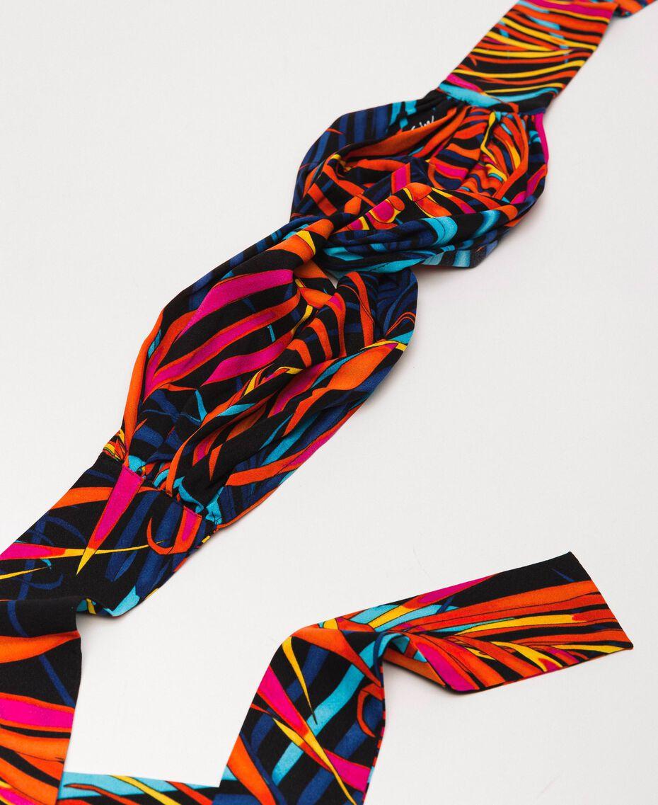 "Printed scarf headband ""Ice"" White Ferns Print Woman 201MO5340-01"
