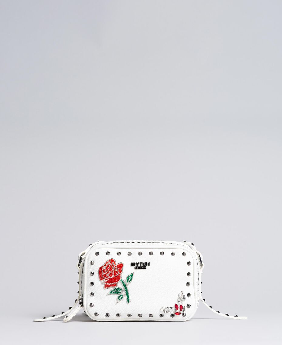 "Shoulder bag with patchwork and studs ""Ice"" White Woman VA8PGC-02"