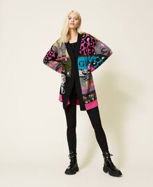 Jacquard wool blend cardigan Purple Berry Picture Jacquard Mix Woman 212AP3132-0T
