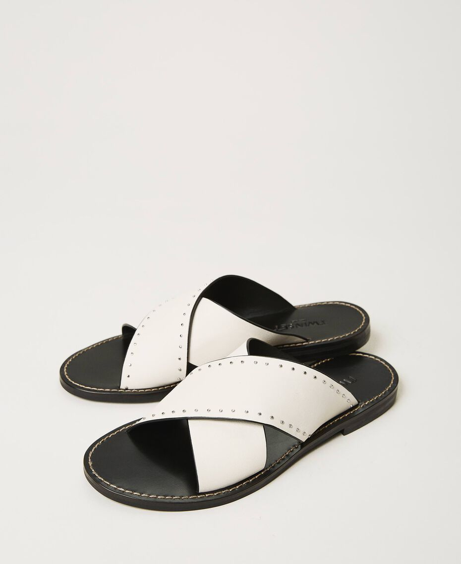 Leather sandals with rivets White Snow Woman 211TCT052-03