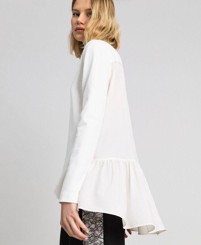 Bluse mit asymmetrischem Volant Weiß Schnee Frau 192TP2641-01