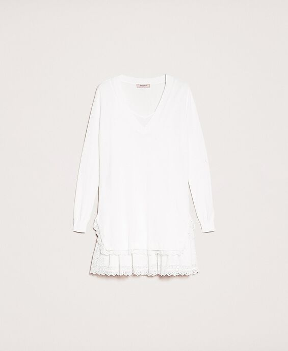 Knitted dress with broderie anglaise flounce