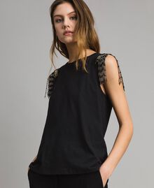 Tank top with sequin and bead embroidery Black Woman 191TT2350-01