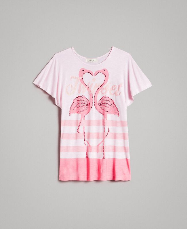 "Striped jersey maxi T-shirt with rhinestones ""Crystal Pink"" Melange Child 191GJ2721-01"