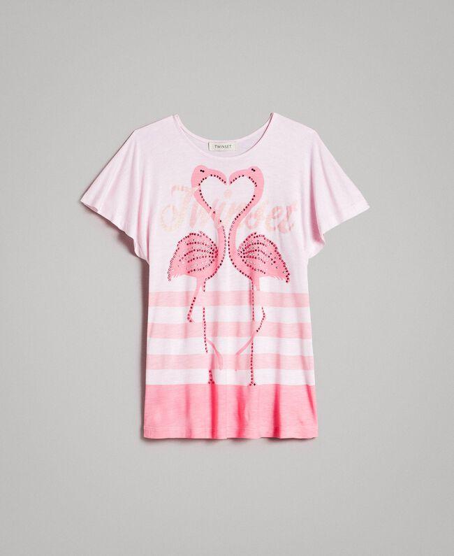 "Gestreiftes Maxi-T-Shirt aus Jerseystoff mit Strass ""Crystal Pink"" Melange Kind 191GJ2721-01"
