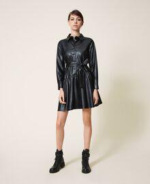 Kleid aus Lederimitat mit Gürtel und Volant Schwarz Frau 202ST2015-01