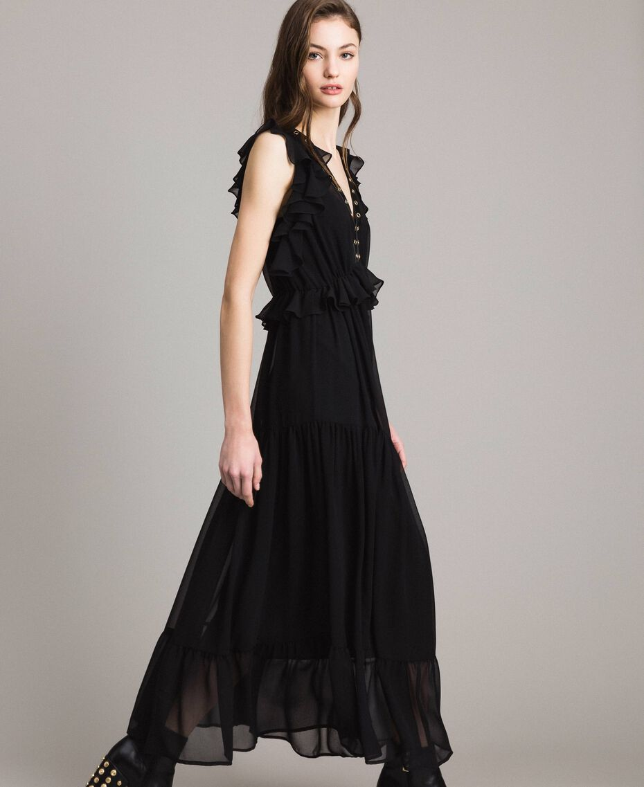 Long georgette dress with rings Black Woman 191MP2390-02