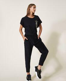 Pantalon en chenille avec strass Noir Femme 202LL2GFF-02