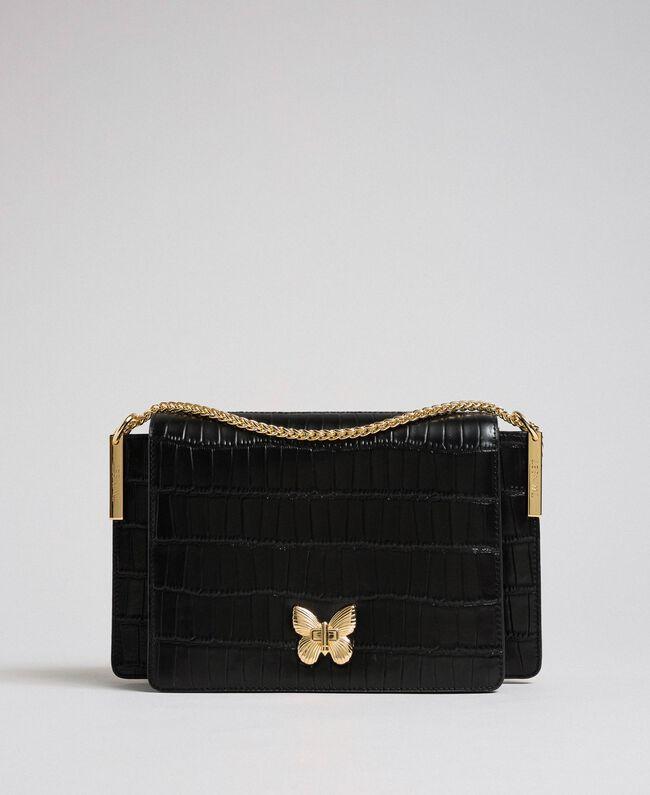 Large leather Bea shoulder bag Black Woman 192TO8040-01