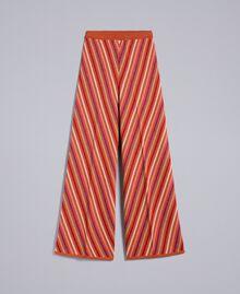 """Pantaloni jacquard a righe lurex multicolor Jacquard Riga Lurex Arancione """"Bruciato"""" Donna TA838A-0S"""