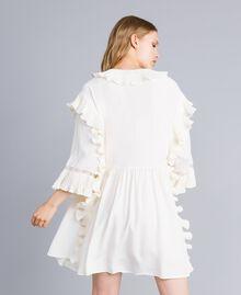 Robe courte en soie mélangée avec plissé Blanc Neige Femme TA823P-03