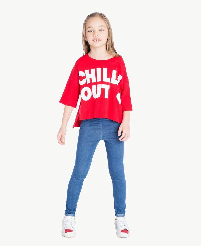 "Printed sweatshirt Two-tone Pomegranate Red / ""Papyrus"" White Child GS82KA-05"