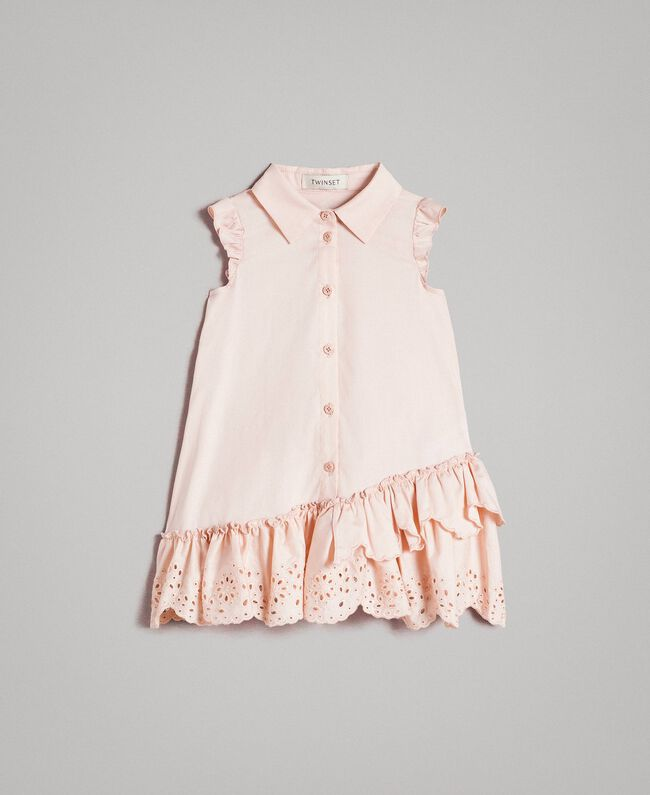 Poplin shirt dress with broderie anglaise Blossom Pink Child 191GB2190-01