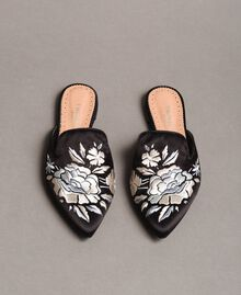 Embroidered satin mules Black Woman 191TCT014-05