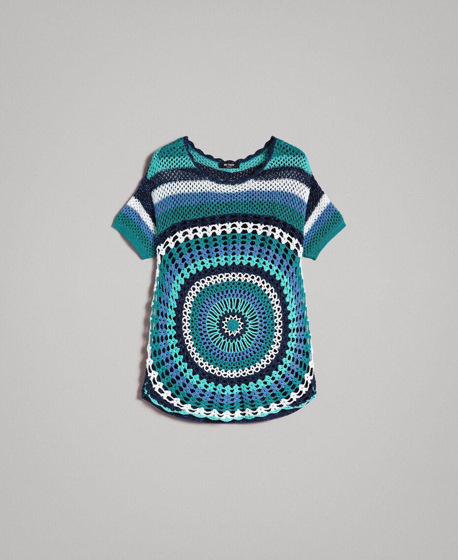 Maxi pull en crochet avec lurex Multicolore Crochet Bleu Nuit Femme 191MT3050-0S