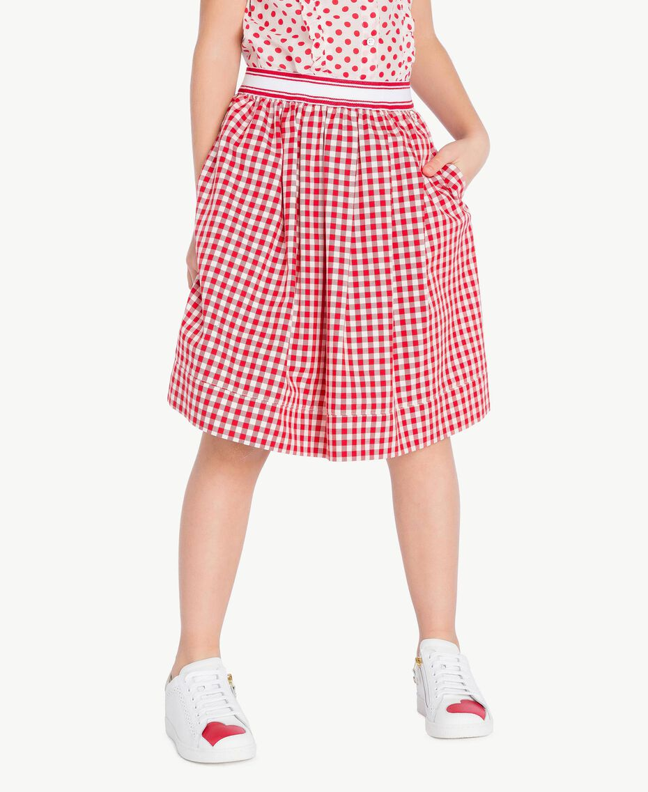 Gingham skirt Gingham / Pomegranate Red Jacquard Child GS82ZF-02