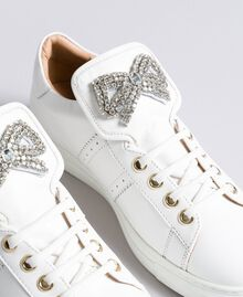Two-tone leather sneakers with bow patch White Woman CA8PBG-04