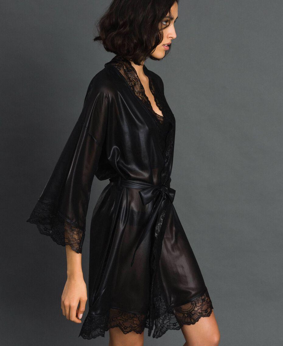 Robe de chambre en mousseline lamée Noir Femme 192LL2HCC-02