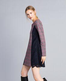 Check flannel and macramé lace dress Grey / Red Check Jacquard Woman SA82FF-02