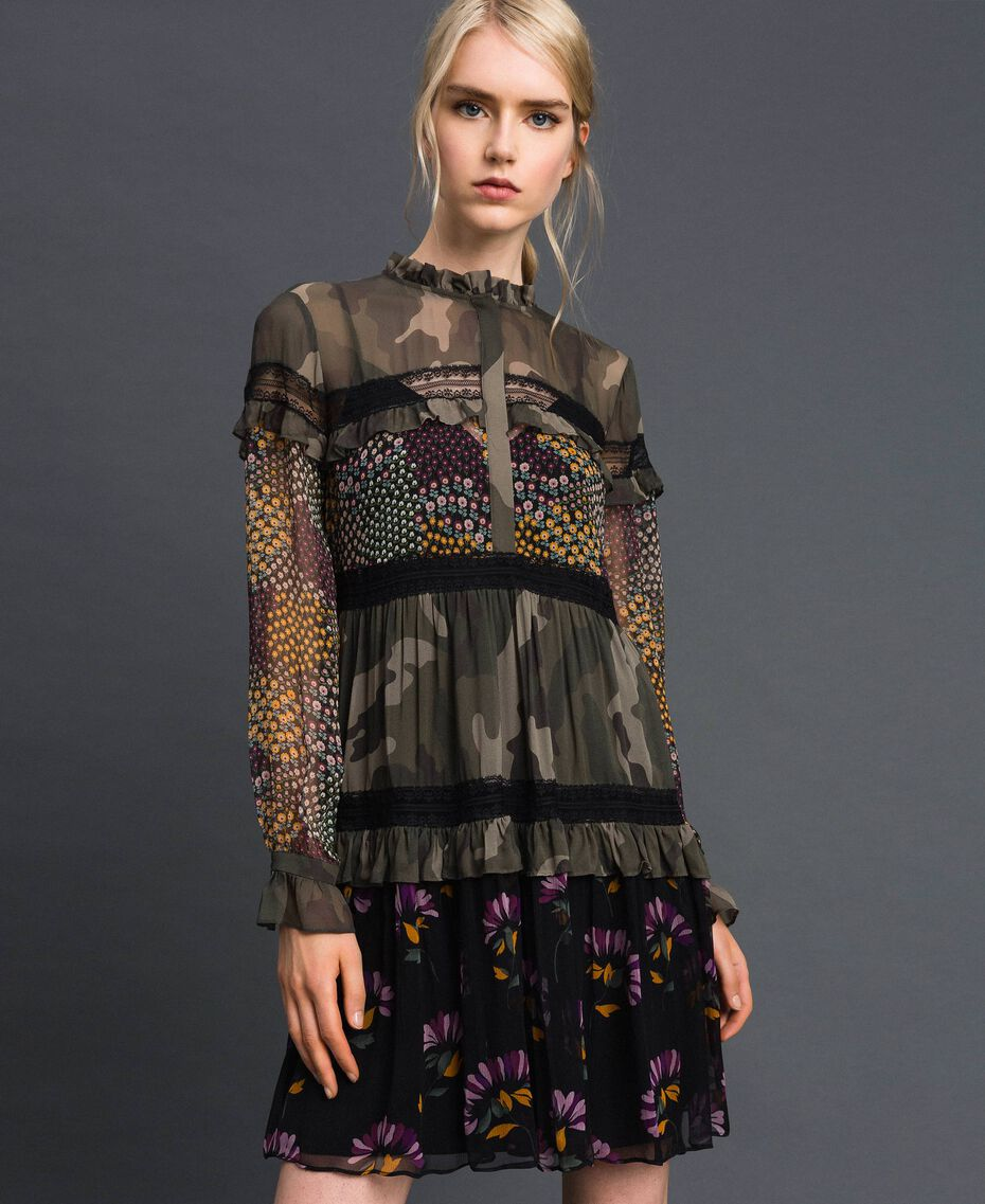 Robe avec imprimé camouflage et floral Imprimé Patch Fleur Camouflage Femme 192TT2122-02