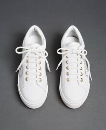 Leather trainers with hearts and studs White Woman 192TCP01Y-04